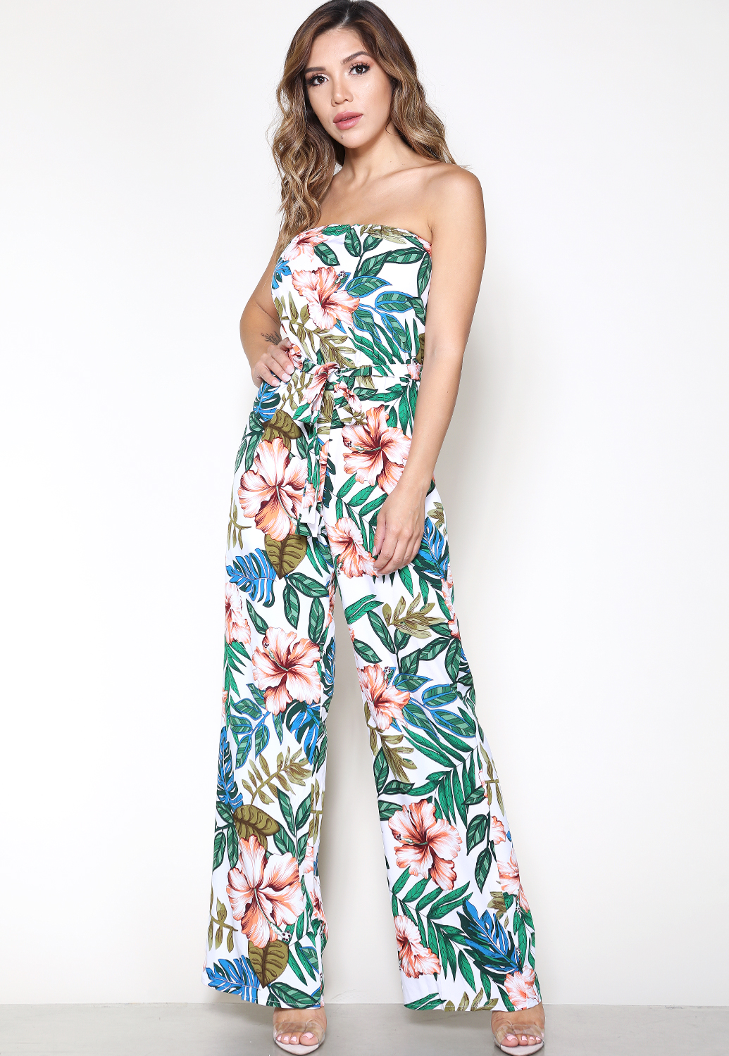 Tropical Print Strapless Jumsuit