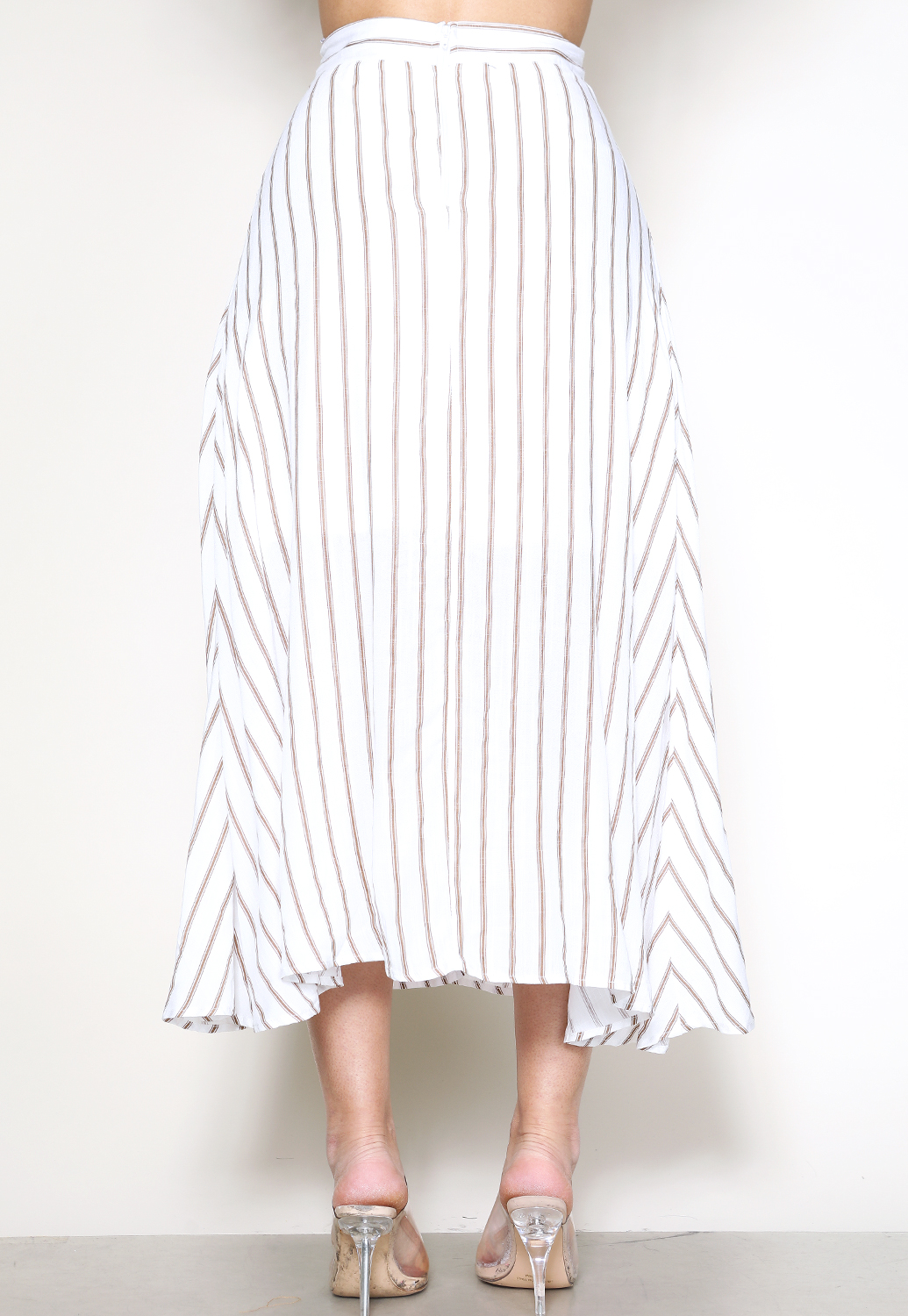 Striped Long Slit Skirt