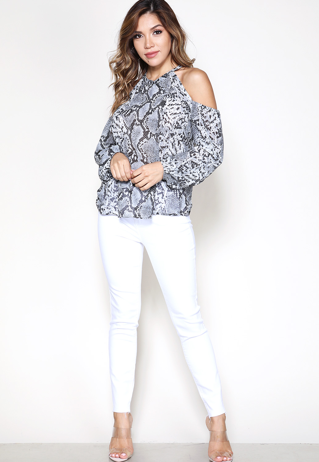 Snakeskin Print Open Shoulder Top
