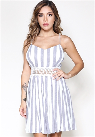 Crochet Trim Striped Mini Dress