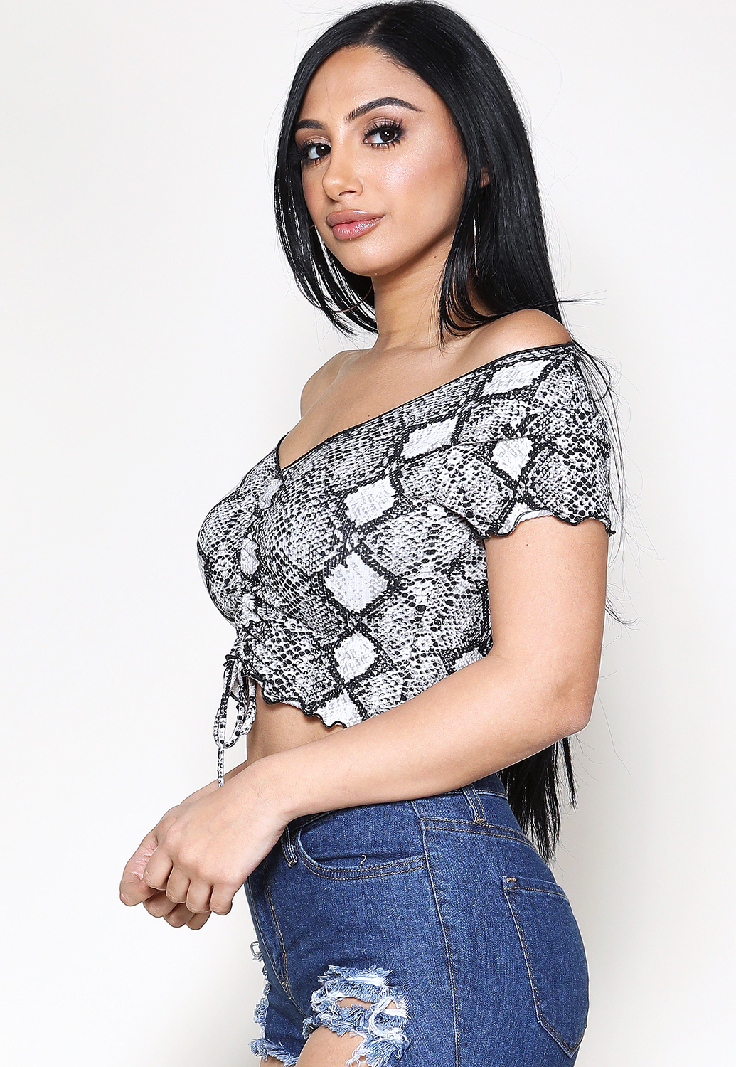 Snakeskin Print Ruched Detail Top