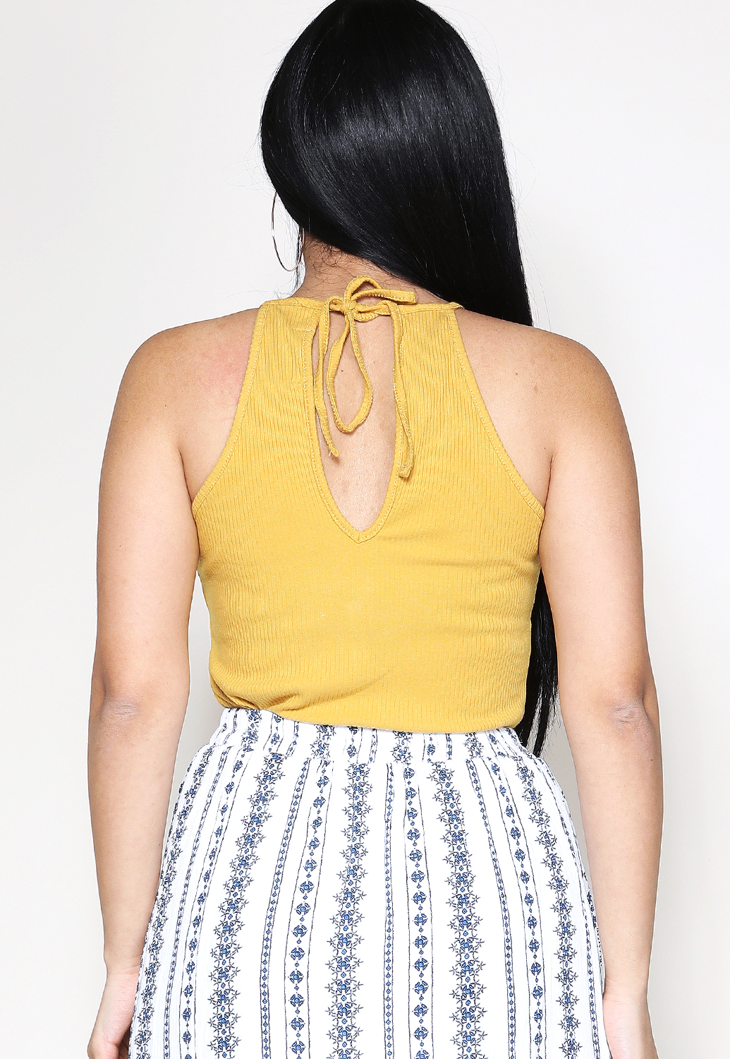Ribbed Tie Back Top