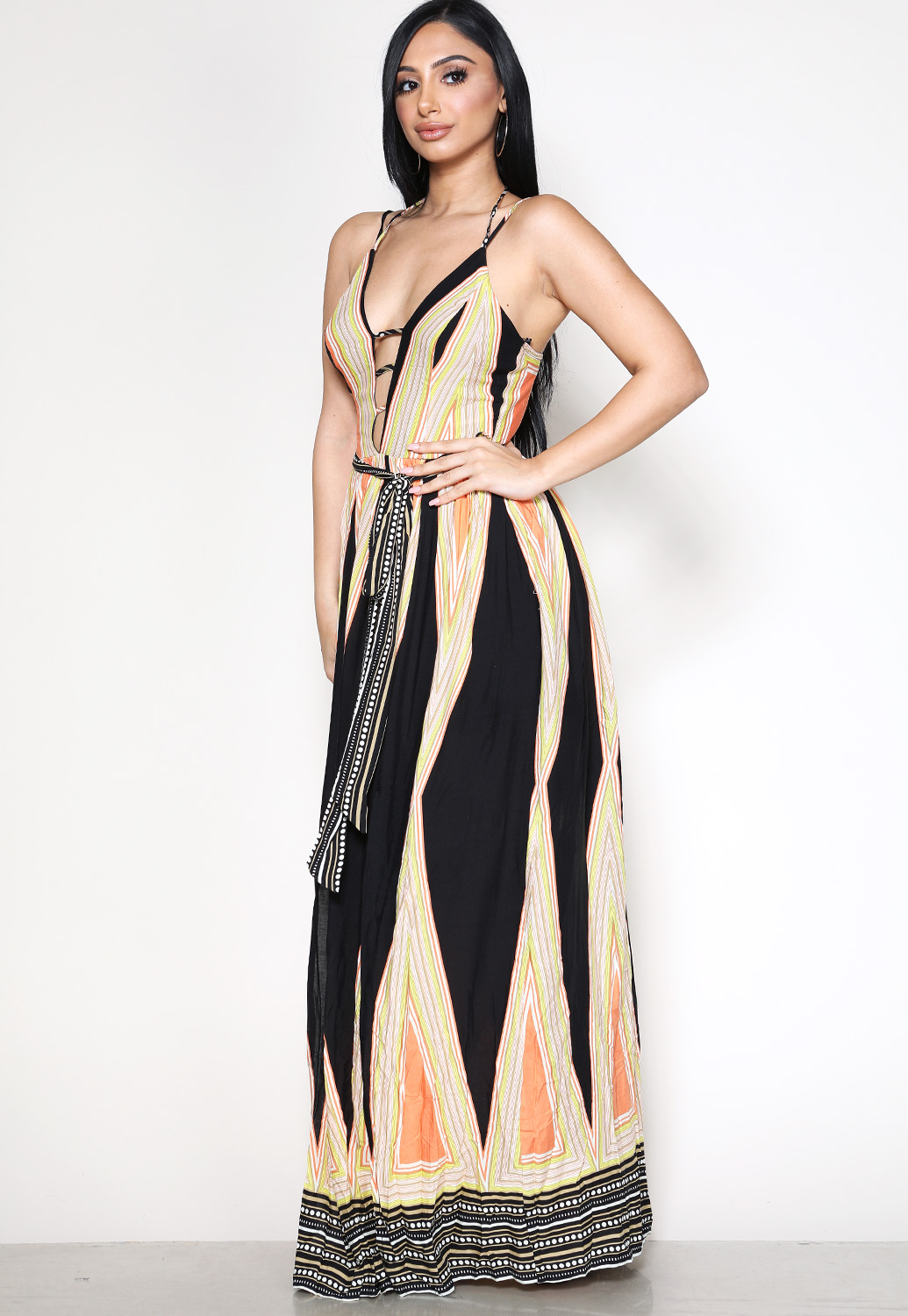 Abstract Striped Print Maxi Dress