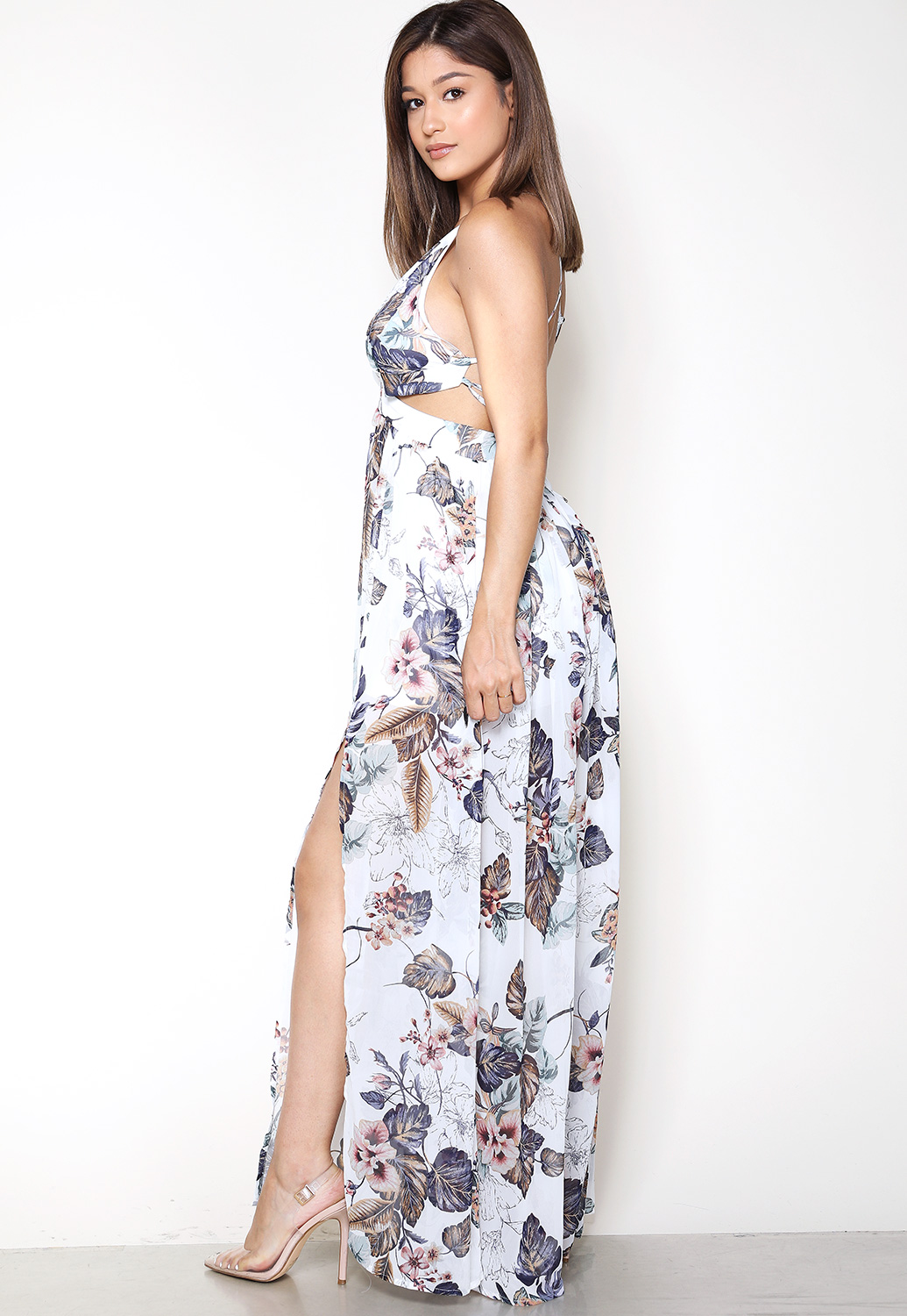 Floral Back Open Maxi Dress
