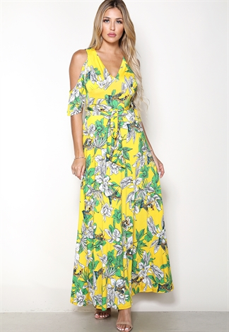 Open Shoulder Floral Print Maxi Dress