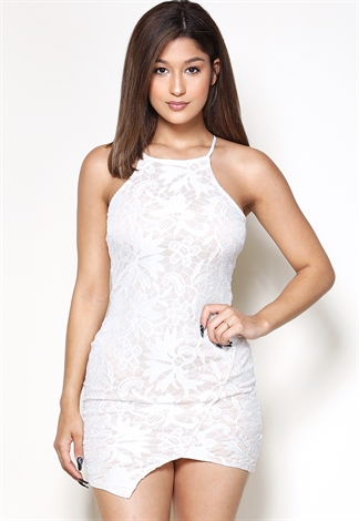 Asymmetrical Lace Overlay Mini Dress