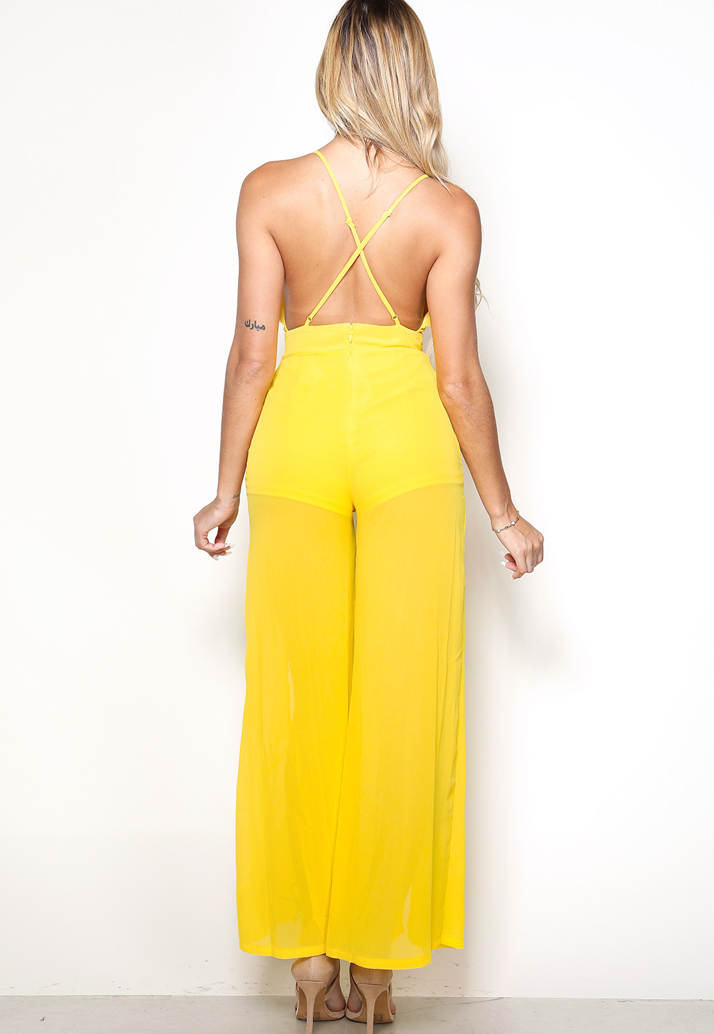 Front Slit Self Tie Jumpsuit