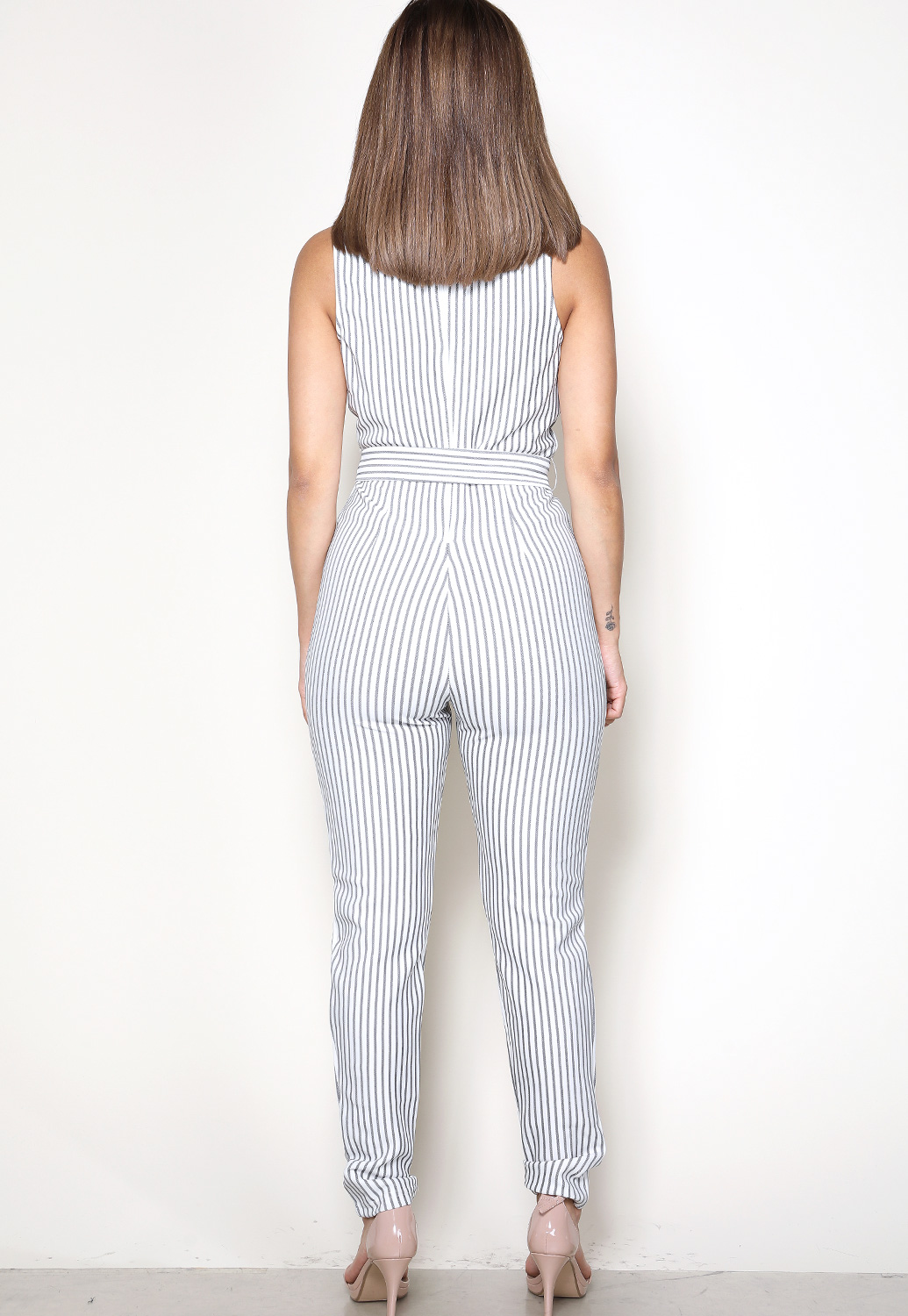Pinstriped Belted Jumpsuit