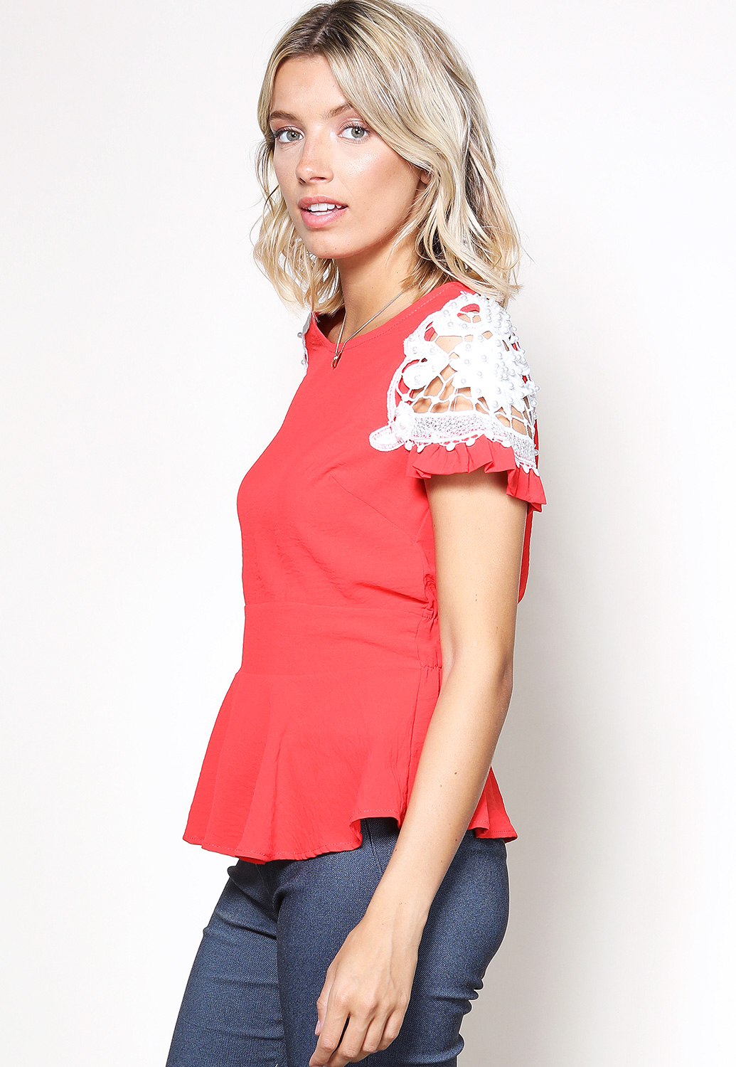 Crochet Trim Flare Hem Top