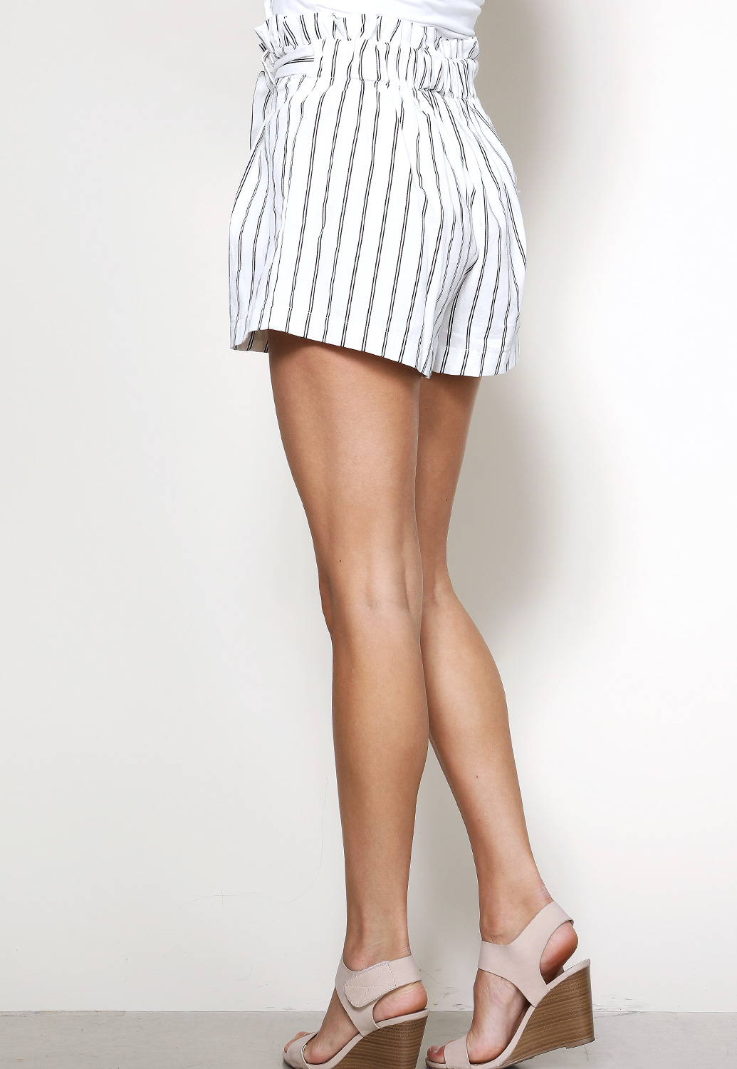 Striped Tie Front Dressy Shorts