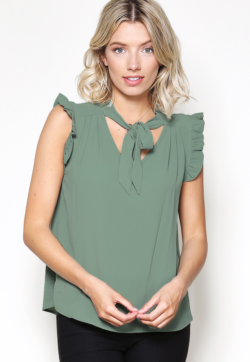 Tie Neck Ruffle Trim Top