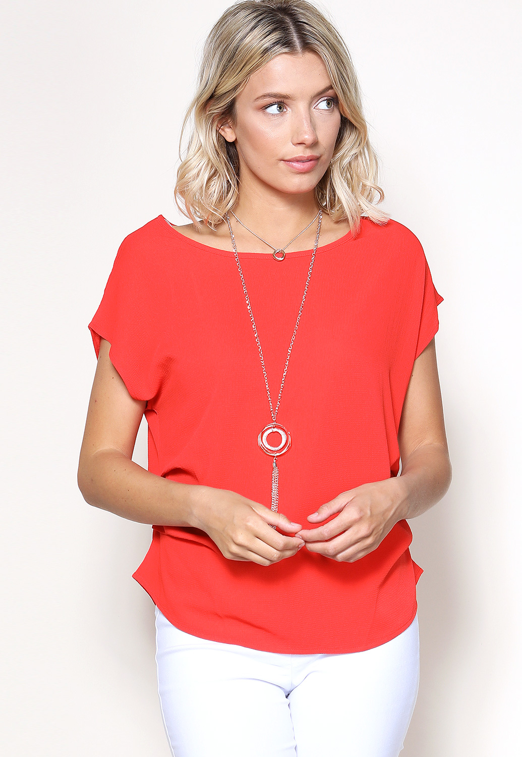 Ruffle Dressy Top W/Necklace