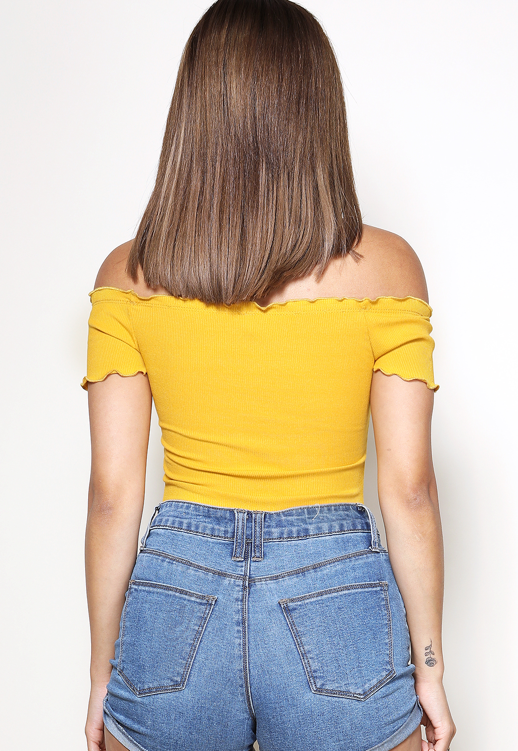 Off The Shoulder Button Detail Bodysuits