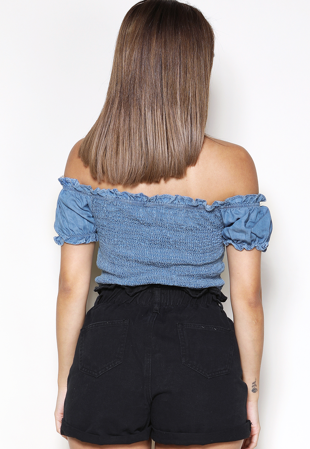 Front Tie Denim Crop Top