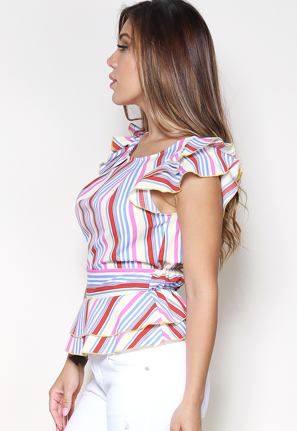 Striped Flare Hem Dressy Top