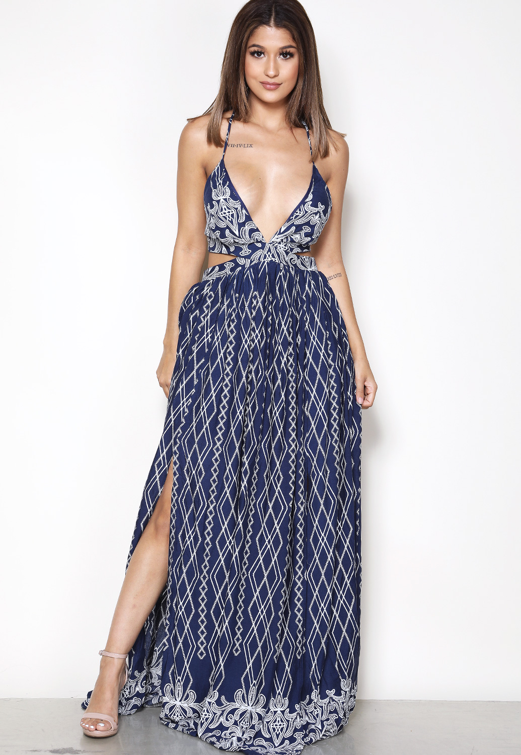 Ornate Print Maxi Dress