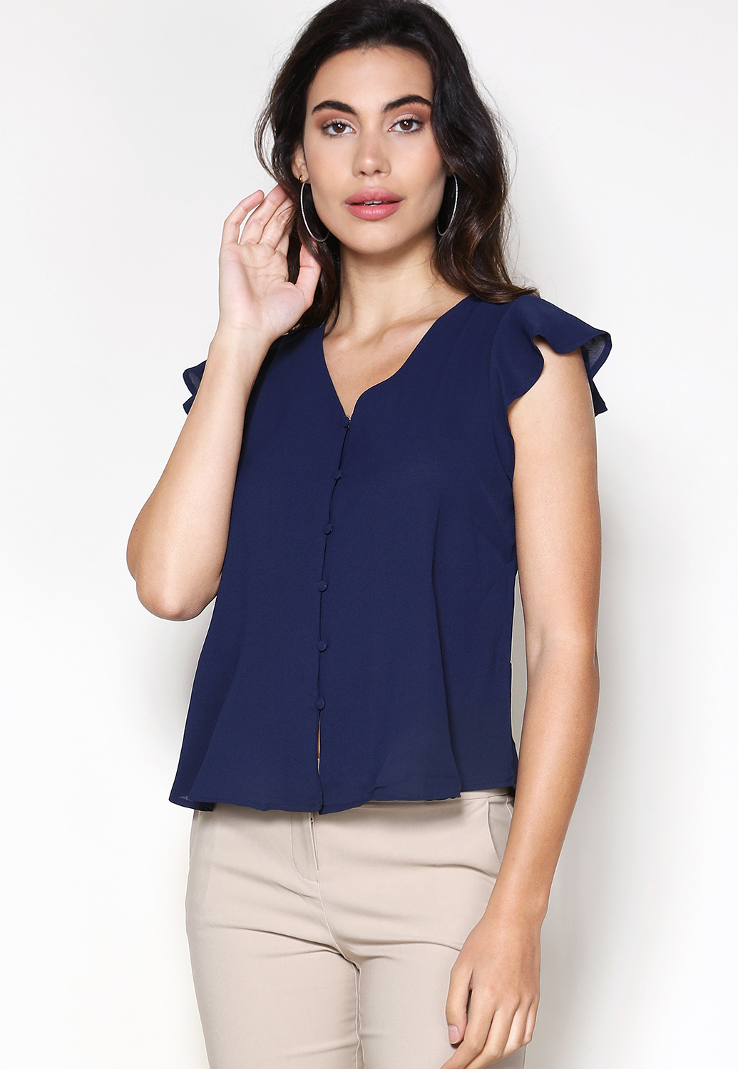 Button Up Tie Back Top