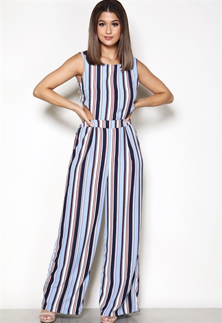 Striped Tie Back Jumpsuit