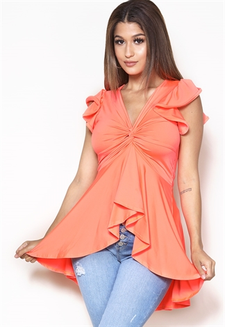 Dressy High Low Ruffle Top