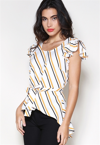 Striped Flare Hem Top