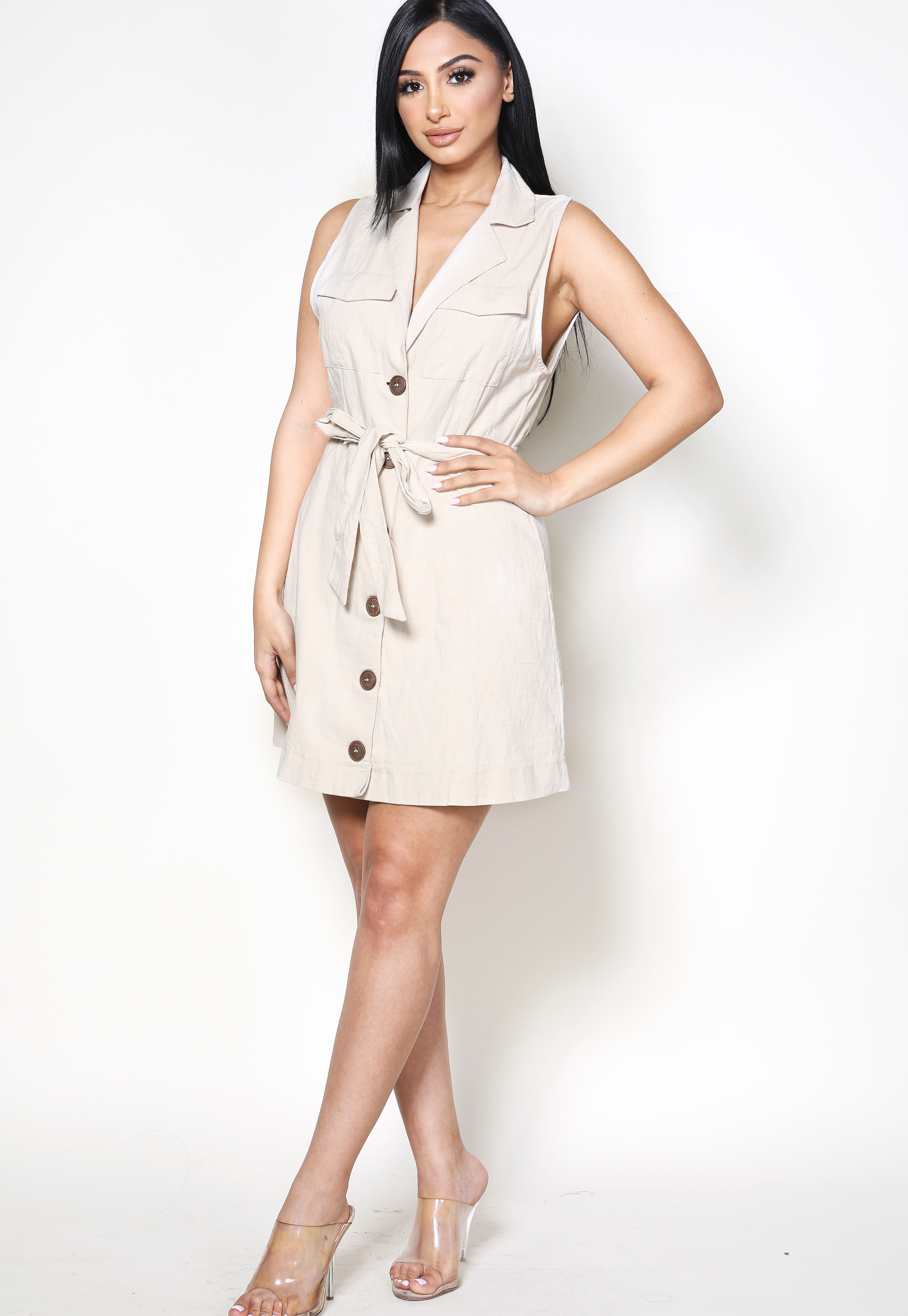 Button Up Tie Front Dress