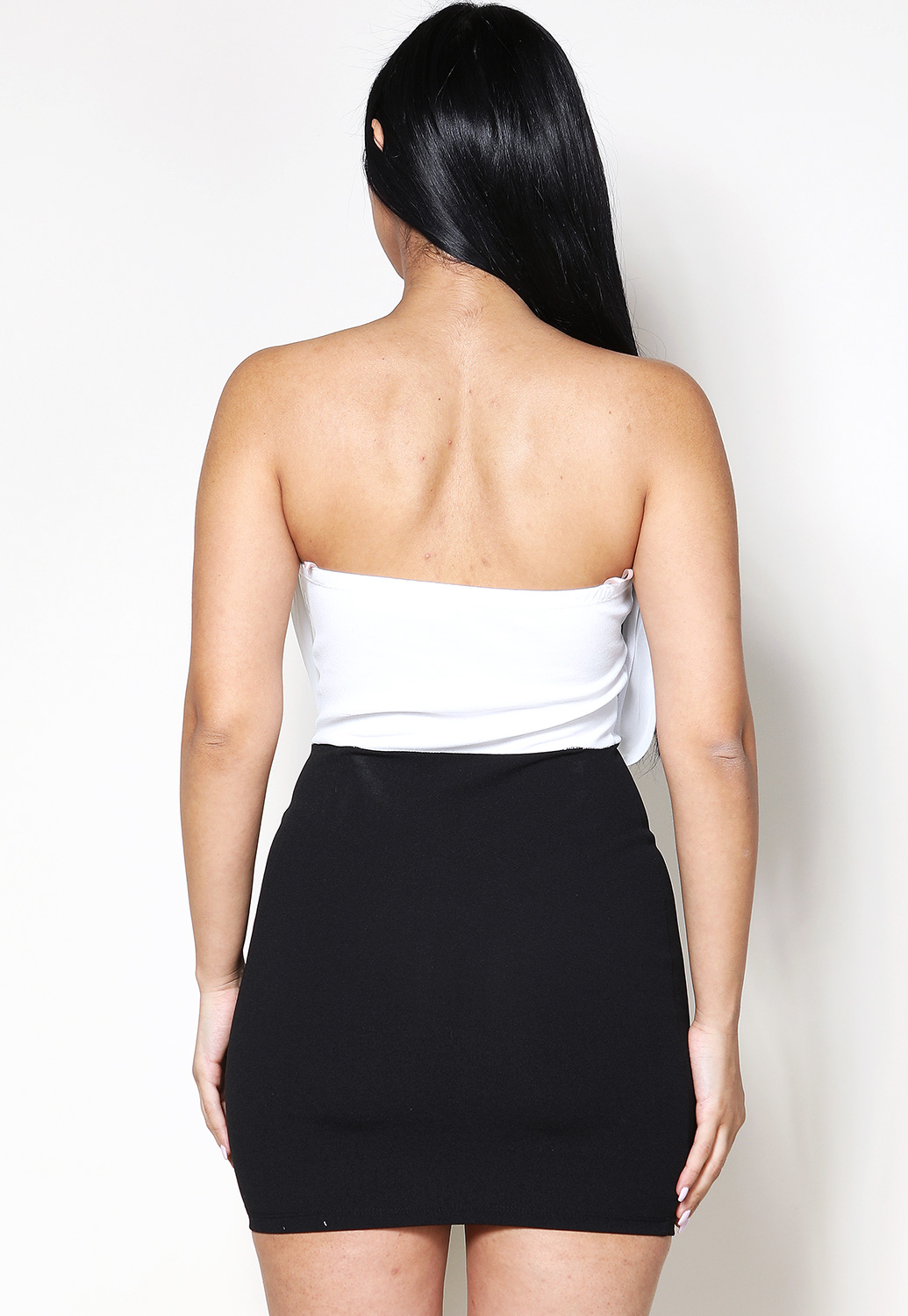 Strapless Surplice Detail Mini Dress