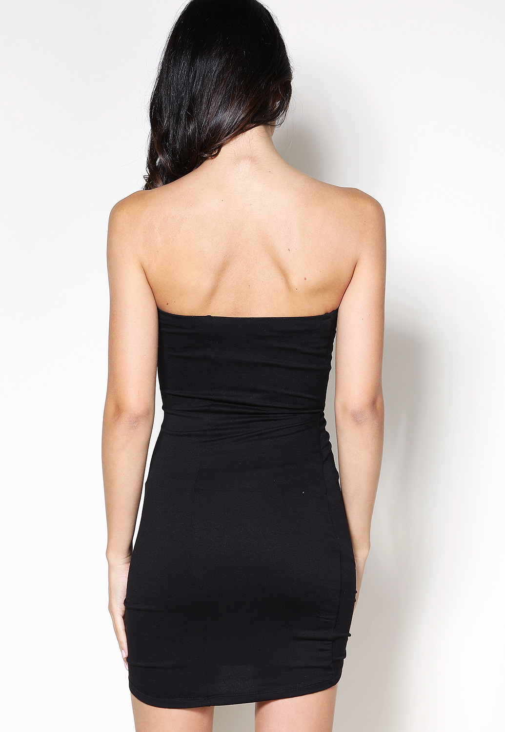 Strapless Ruched Detail Mini Dress