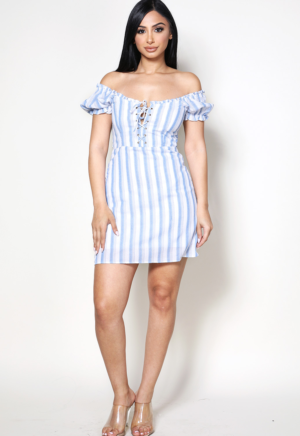 Striped Lace Up Detail Mini Dress