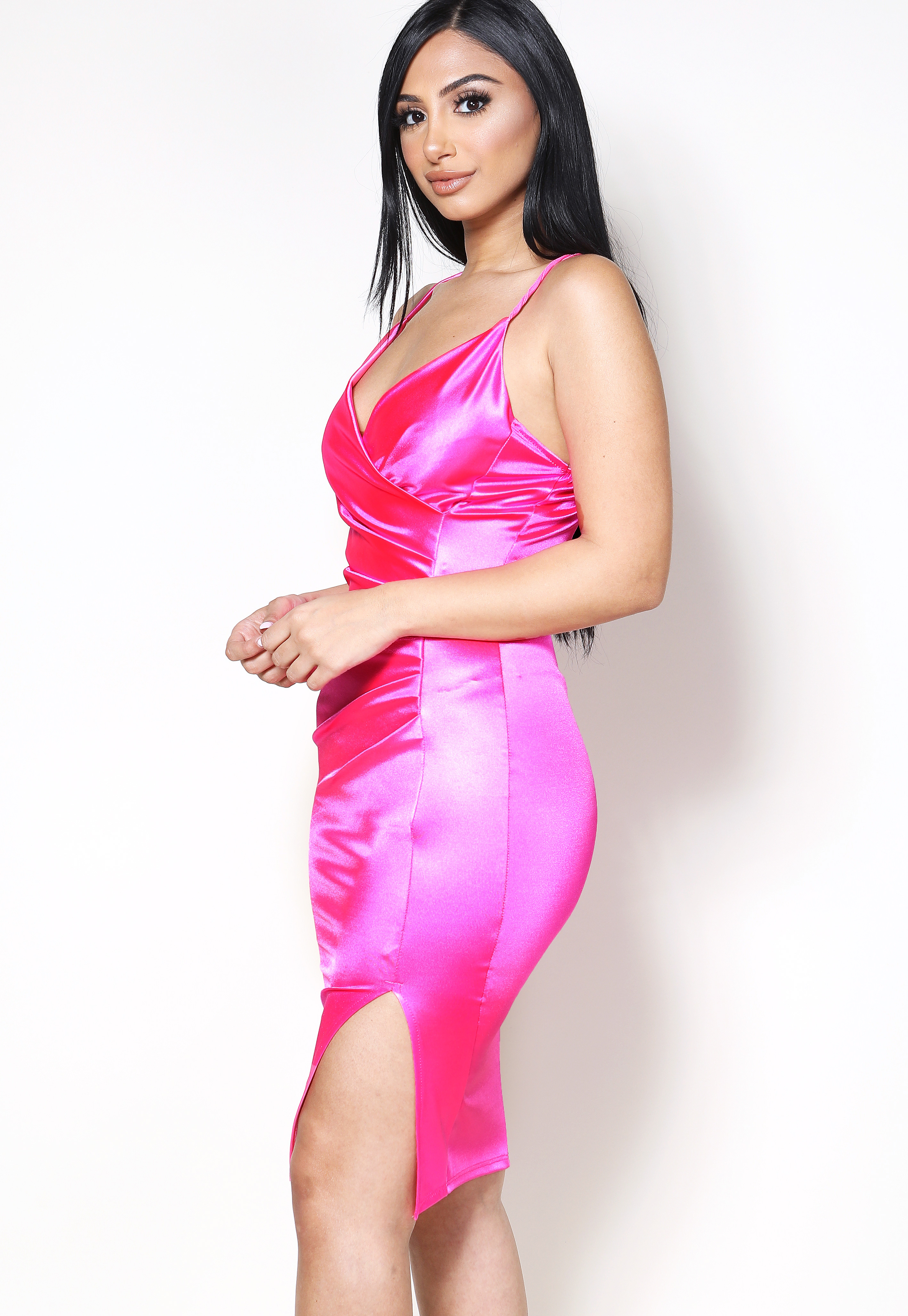 Satin Surplice Bodycon Dress