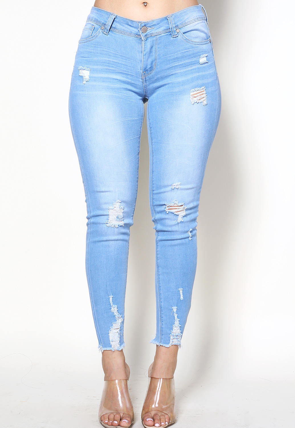Distressed Fringe Accented Skinny Jeans
