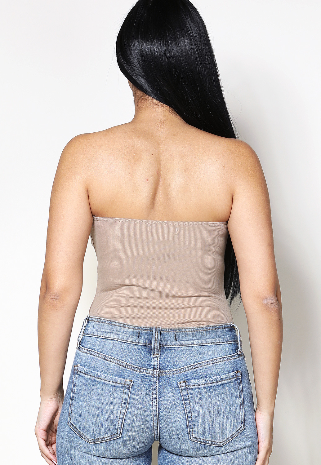 Ruched Detail Strapless Bodysuit