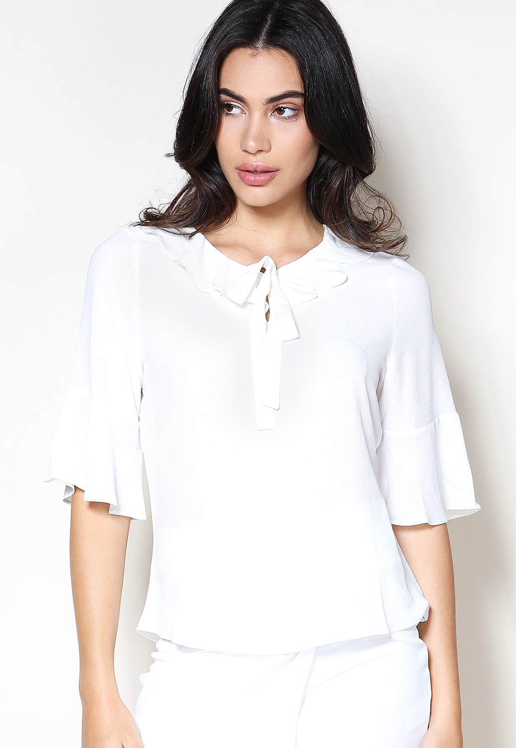 Tie Neck Ruffle Detail Dressy Top