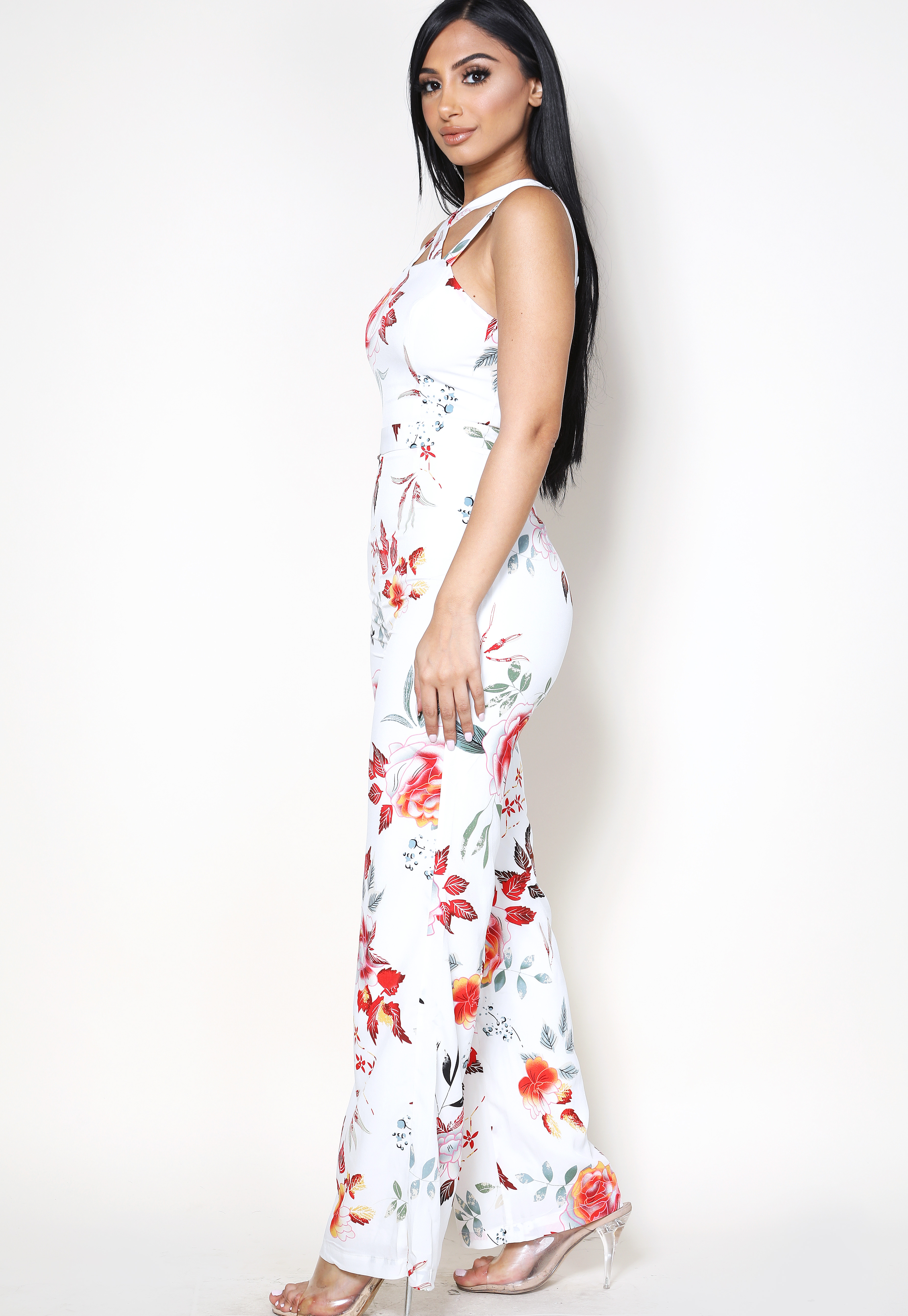 Floral Back Criss-Cross Jumpsuit