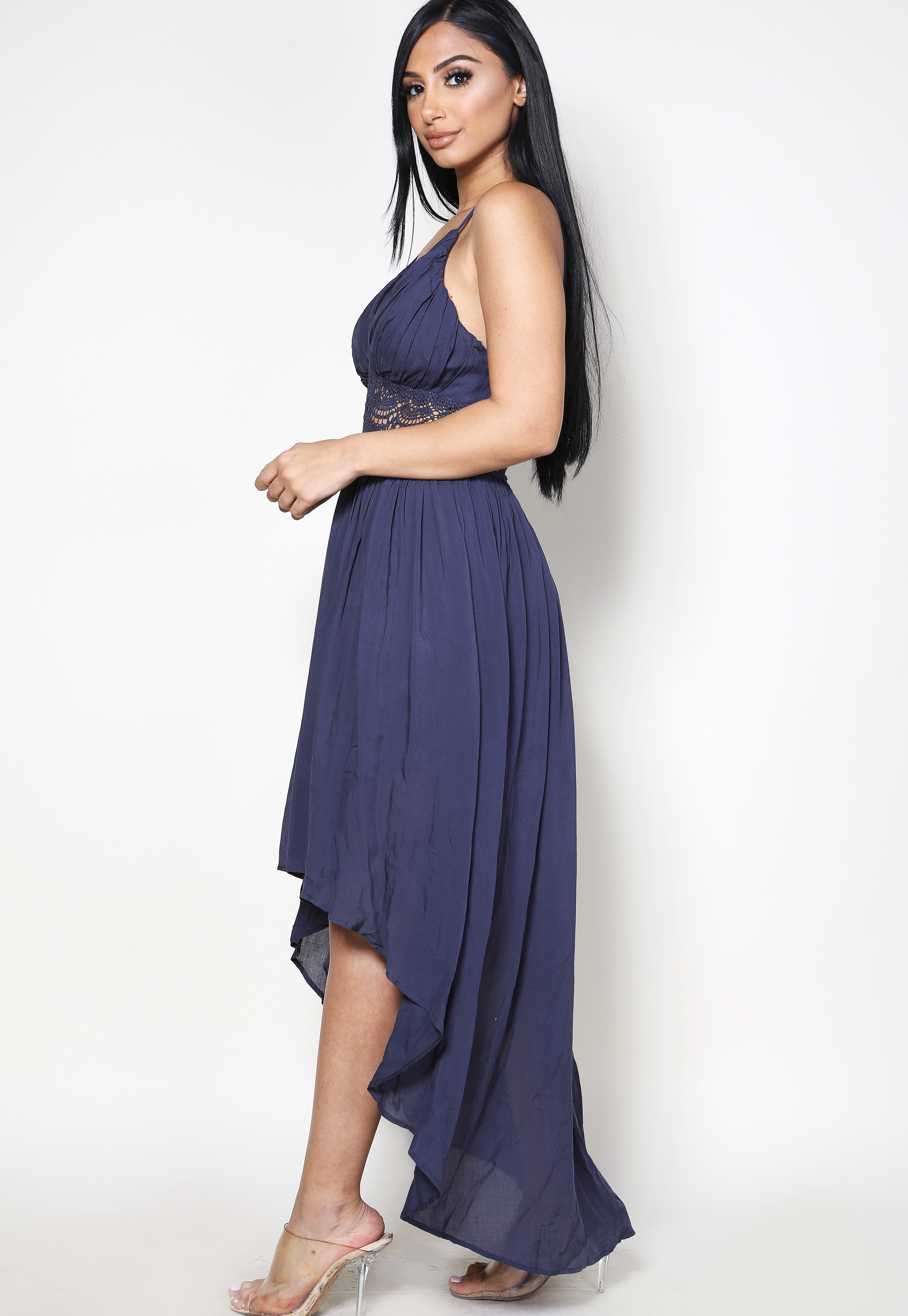 High Low Crochet Trim Maxi Dress