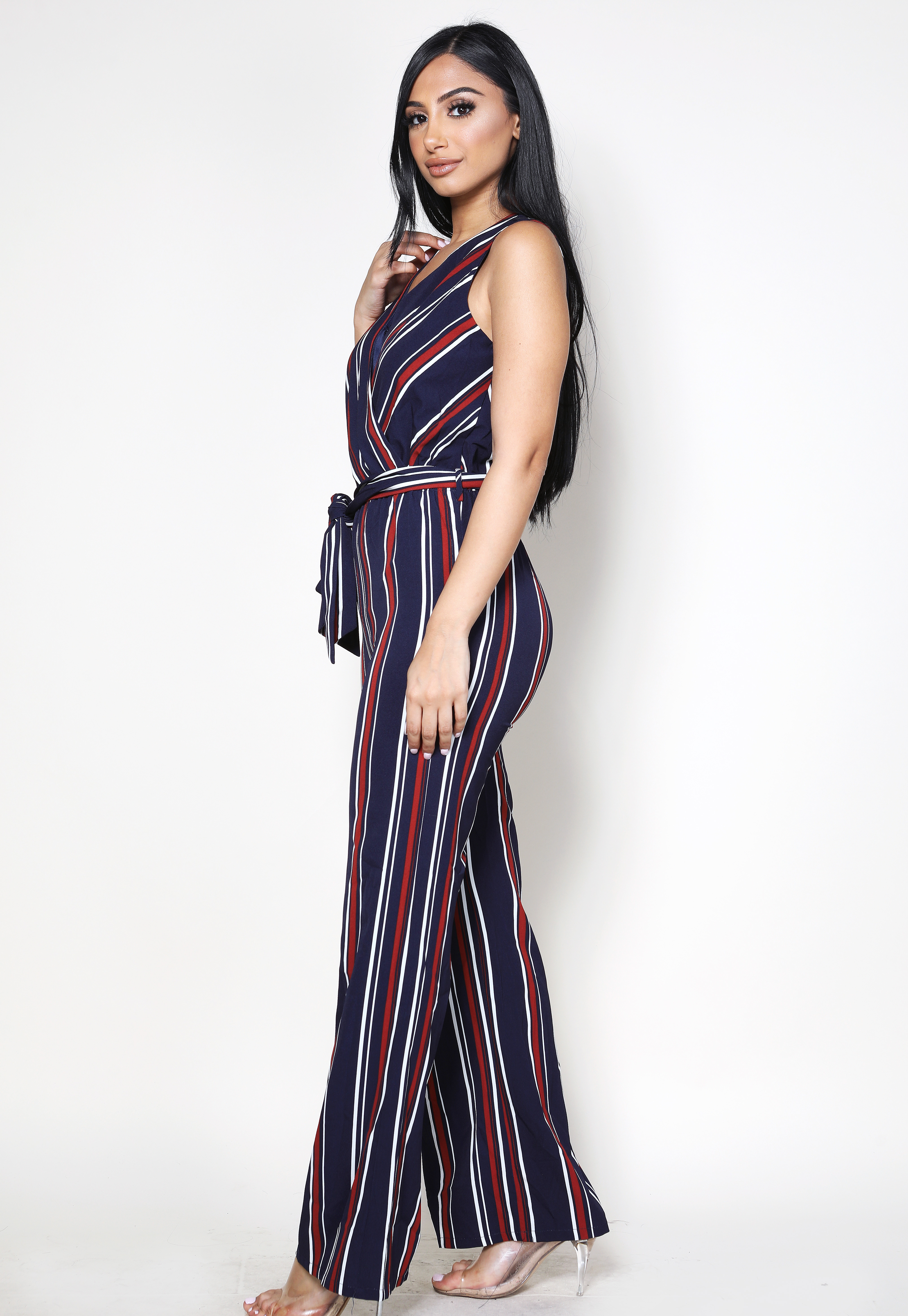 Surplice Striped Print Jumpsuit