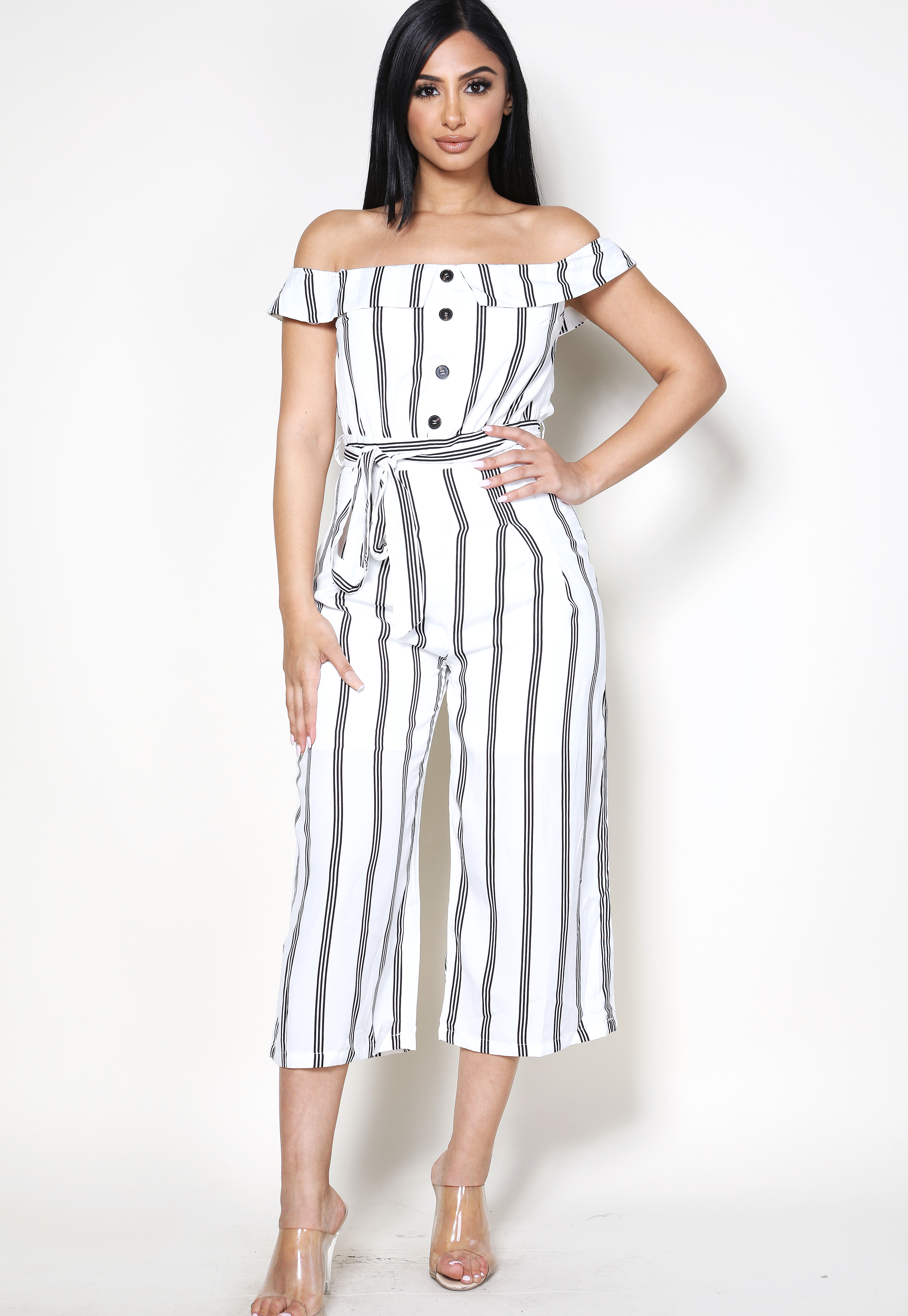 Striped Button Detail Jumpsuit