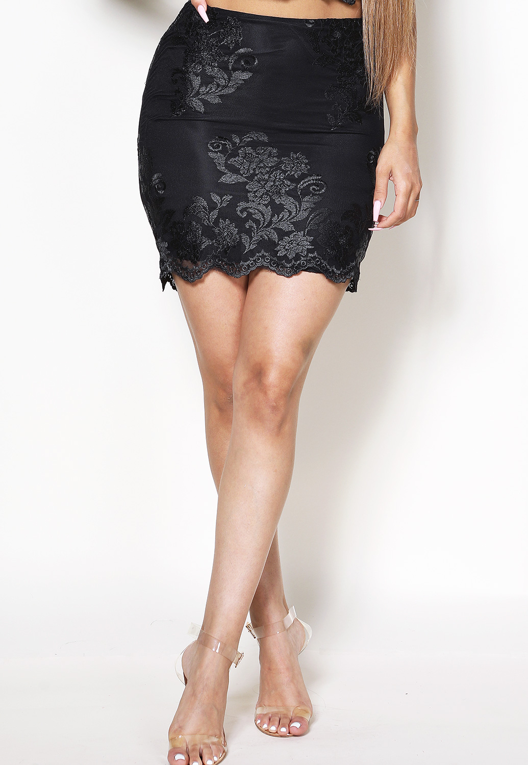 Floral Embroidered Lace Panel Skirt