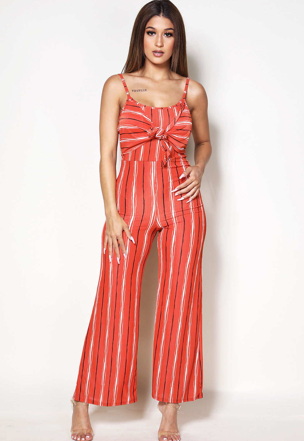 Pinstriped Tie Front Jumpsuit
