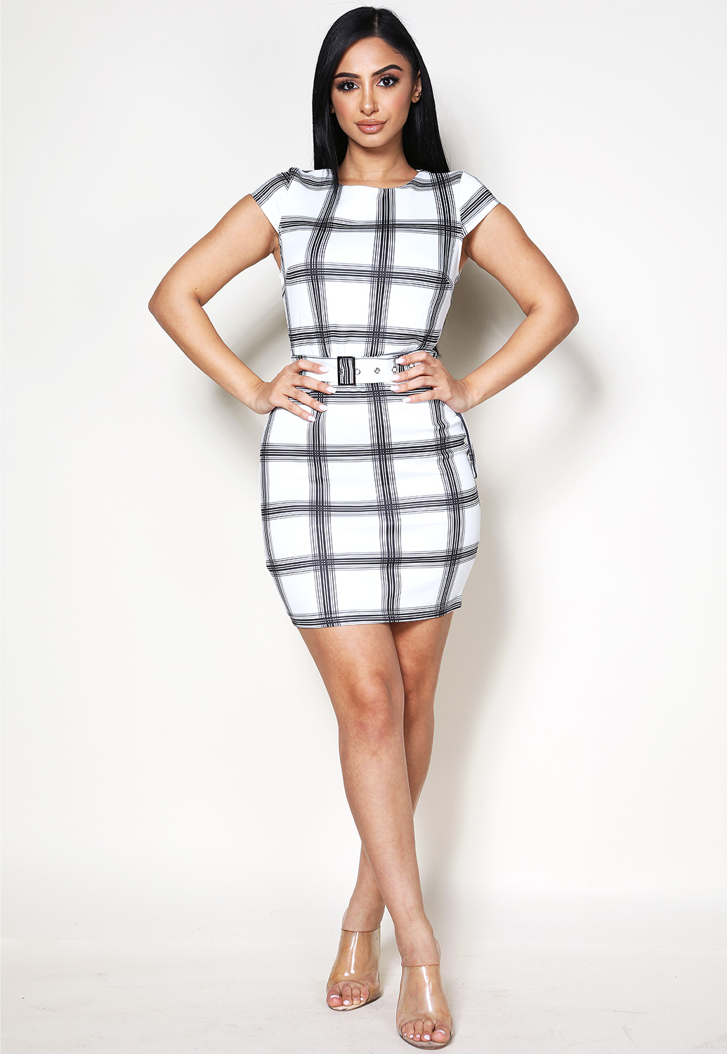 Plaid Belted Mini Dress