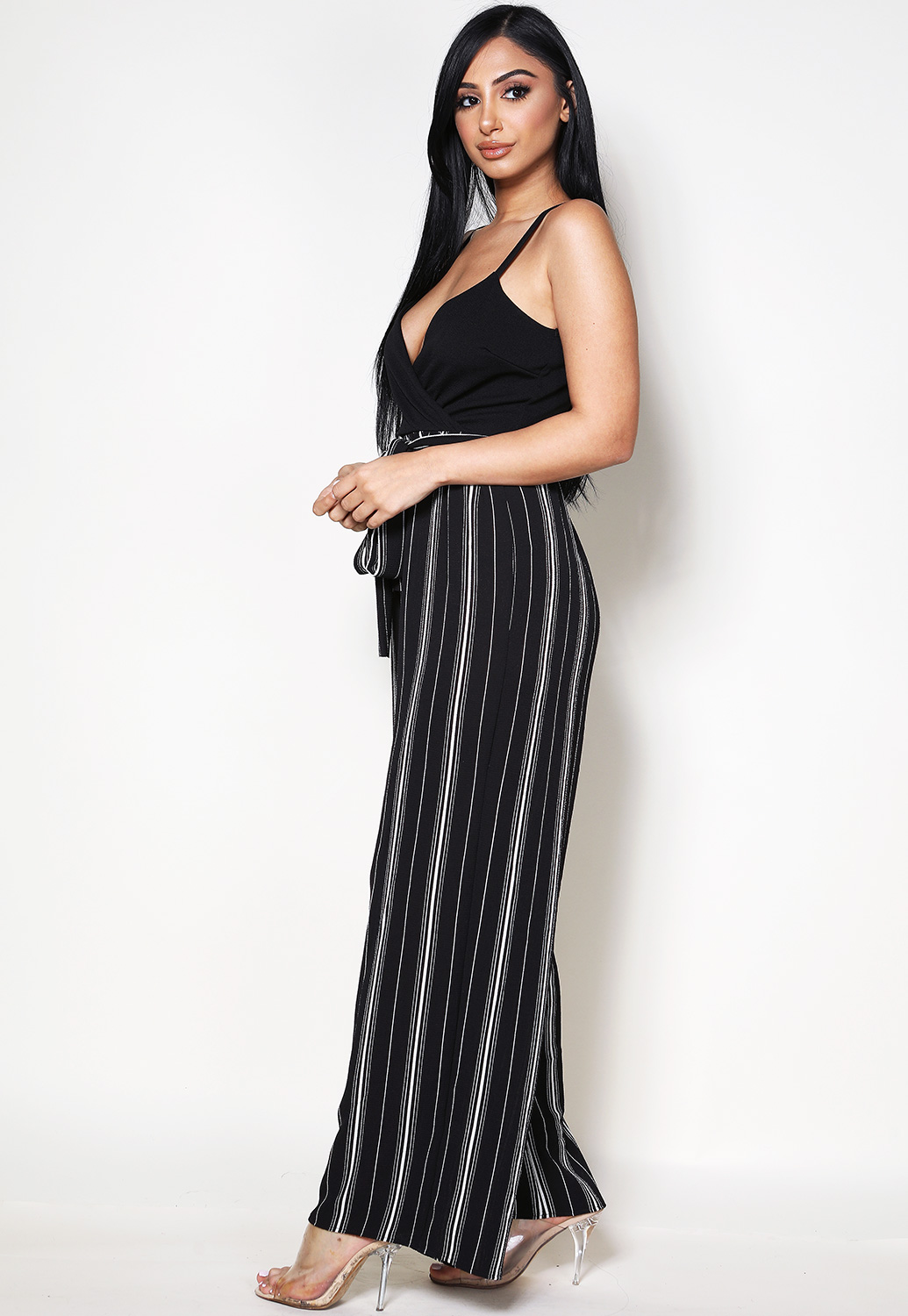 Striped Front Surplice Jumpsuit