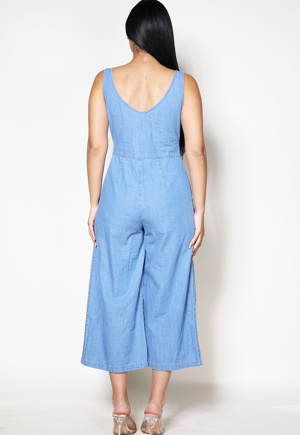 Tie Front Denim Jumpsuit