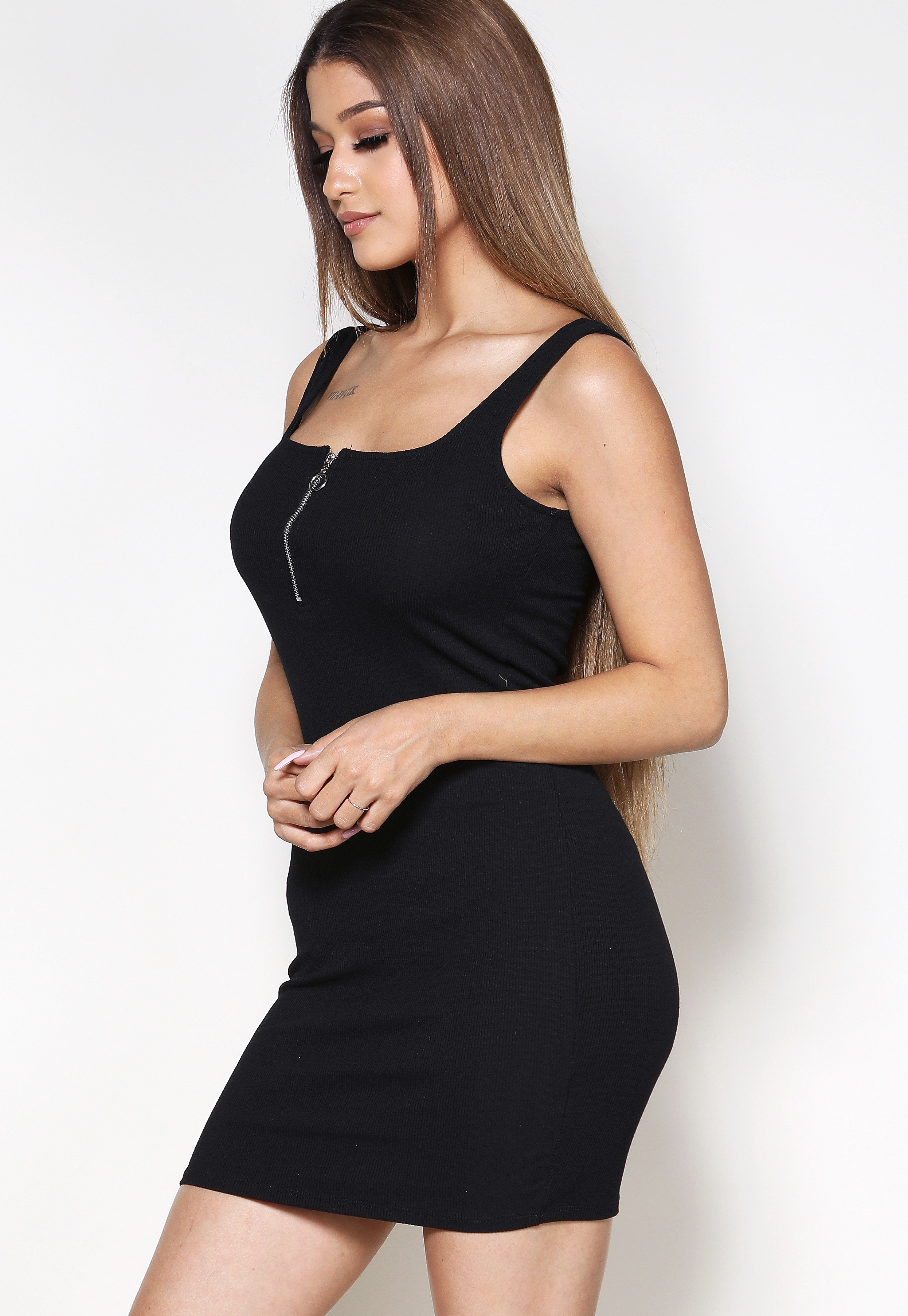 Ribbed Zip-Up Detail Mini Dress
