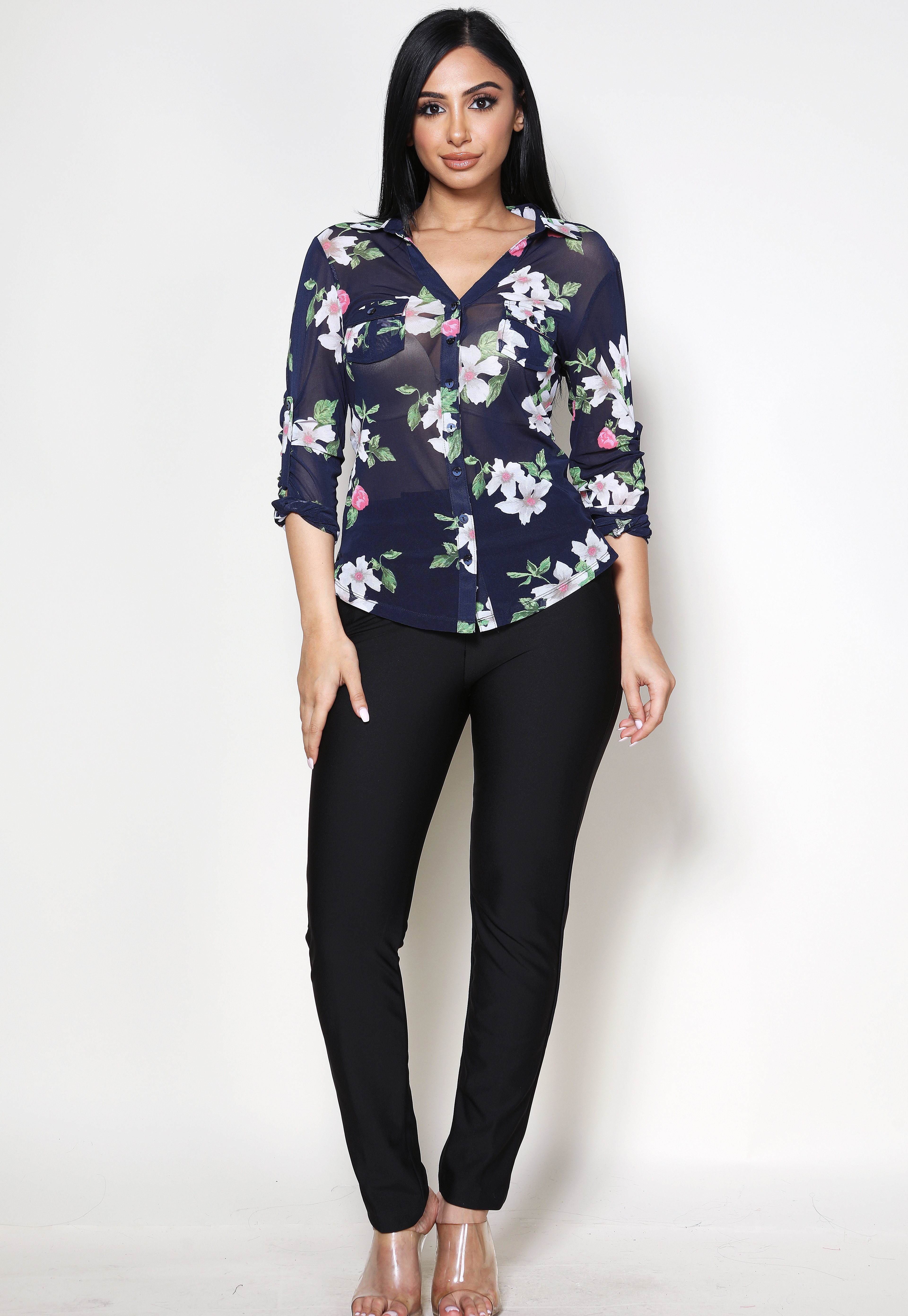 Floral Sheer Mesh Blouse