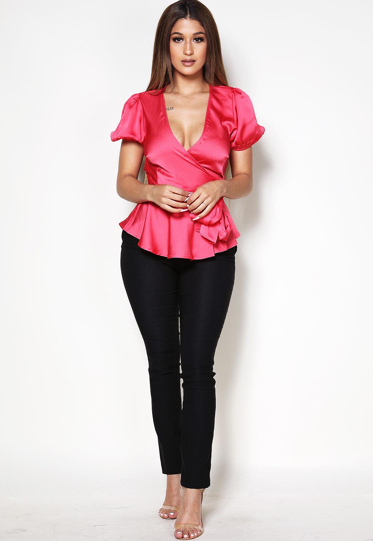 579f9950578215 Satin Wrap Top | Shop Neon Tops at Papaya Clothing