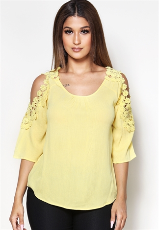Crochet Trim Open Shoulder Casual Top