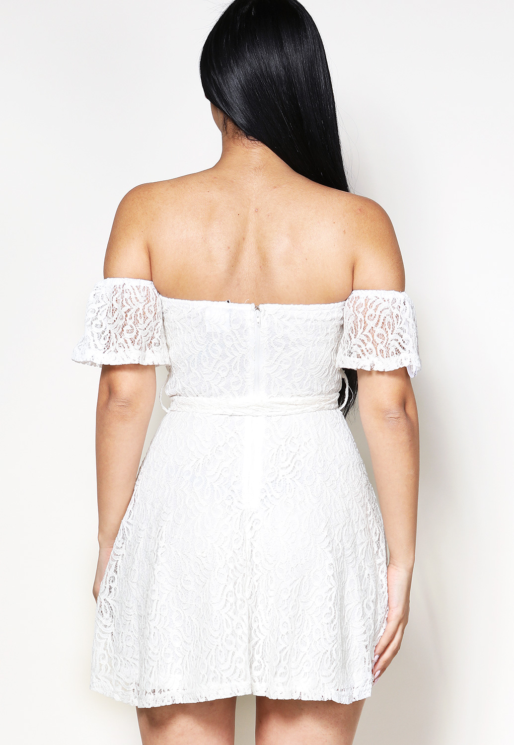 Lace Panel Off The Shoulder Mini Dress
