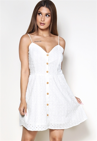 Eyelet Fit And Flare Mini Dress