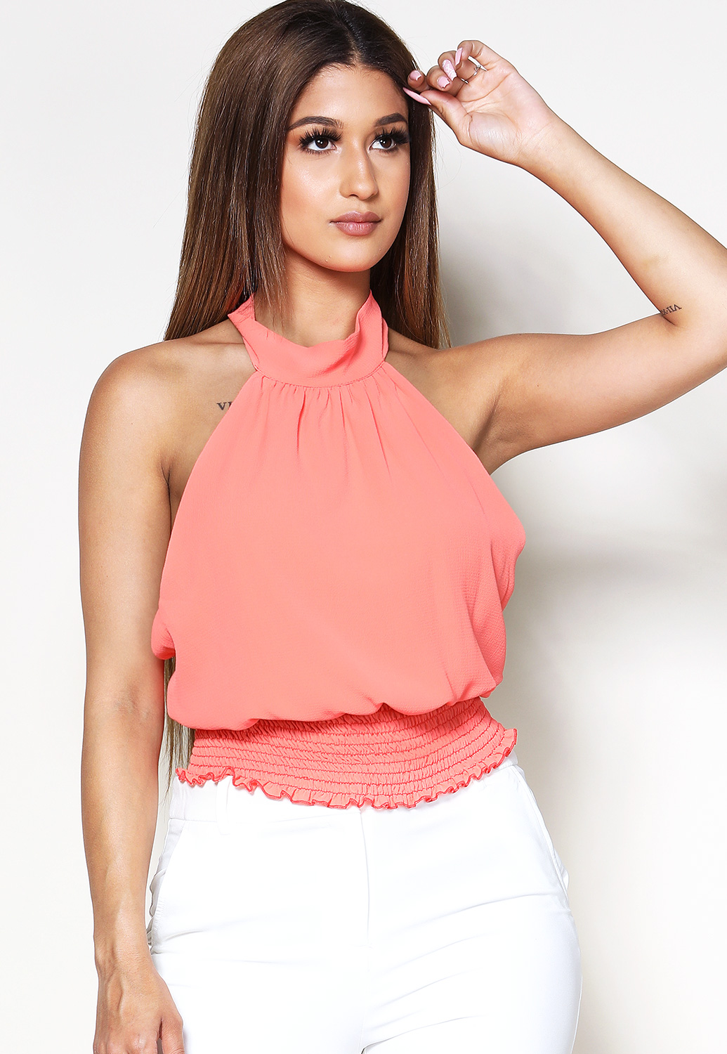 Halter Neck Smocked Detail Top