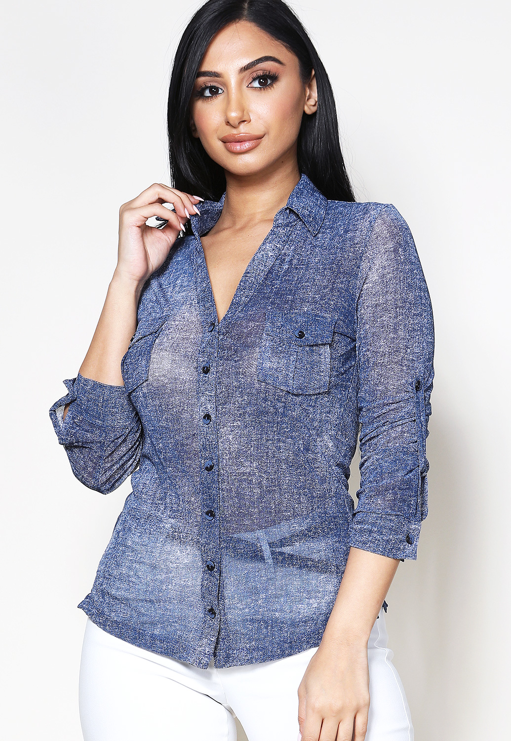 Sheer Mesh Pocket Detail Blouse