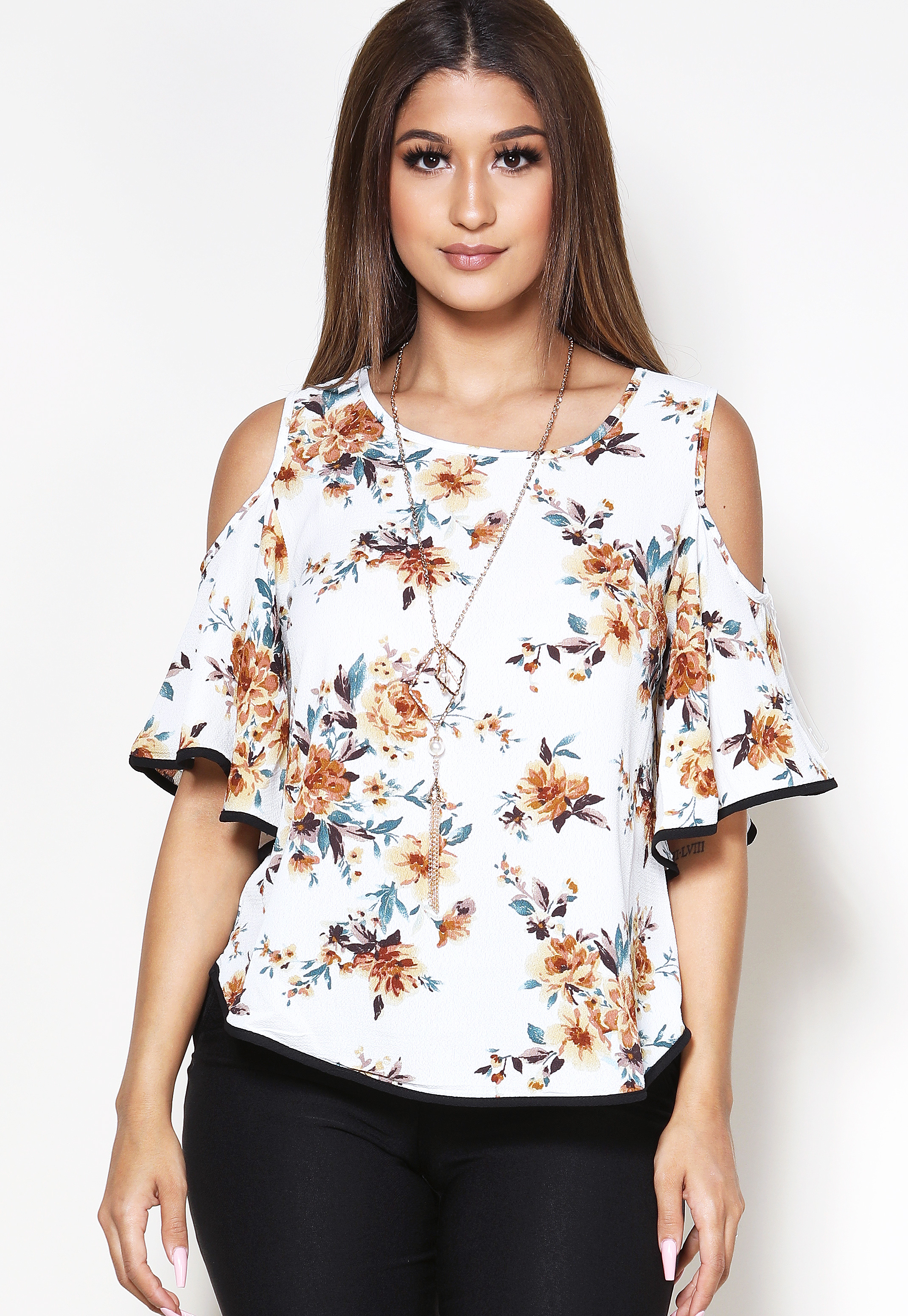 Floral Open Shoulder Dressy Top